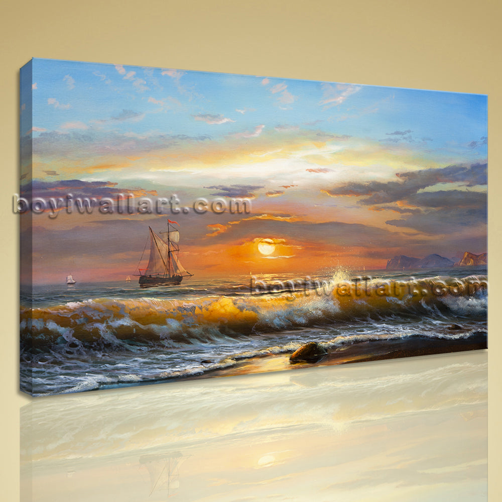 Classical Seascape Oil Painting HD Giclee Print Canvas Wall Art Beach Sea Waves