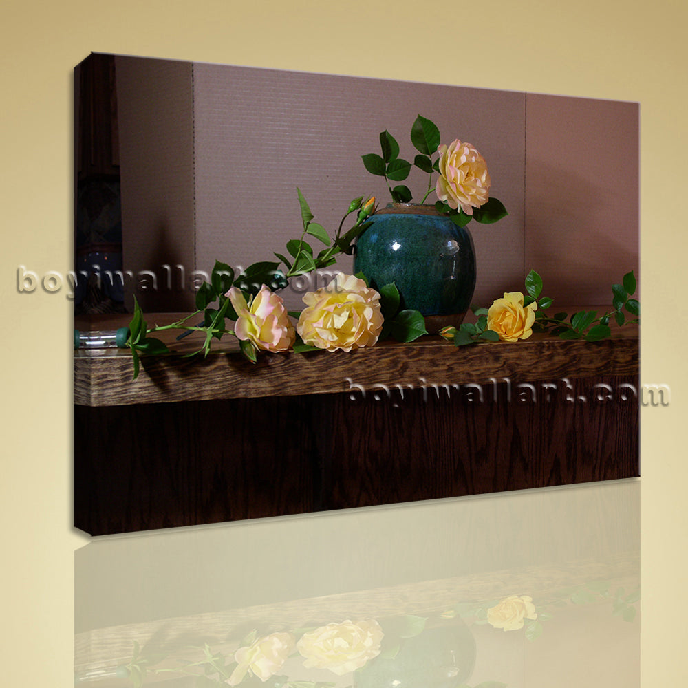 Classical Oil Painting HD Print On Canvas Rose Flower Still Life Home Decor