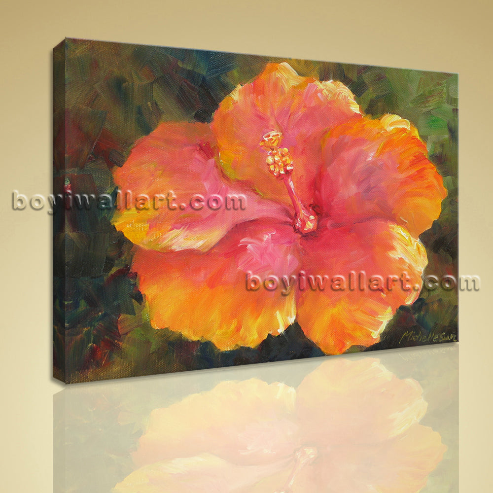 Modern Abstract Floral Painting Flower Picture HD Print On Canvas Stretched