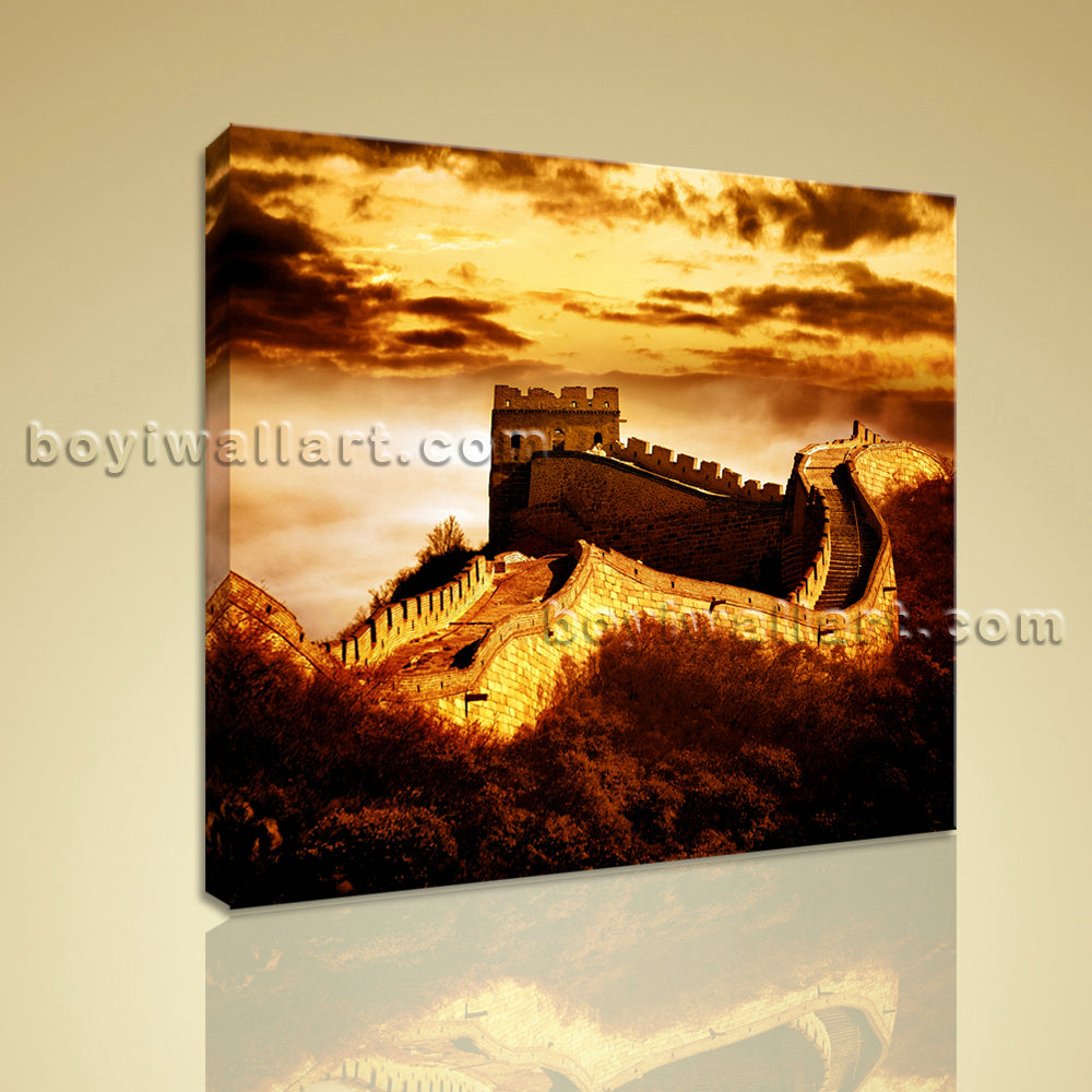 HD Print Landmarks Picture Of The Great Wall China Canvas Wall Art Office Decor