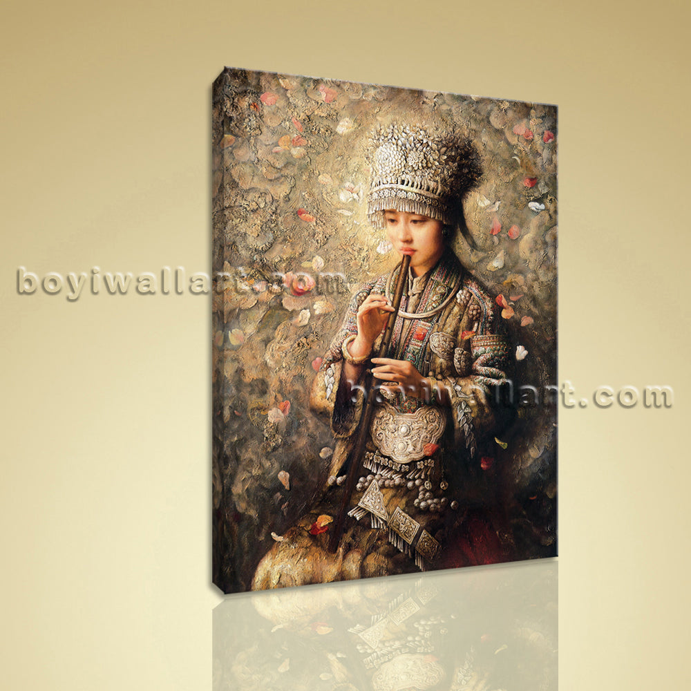 HD Print Portrait Painting On Canvas Chinese Minority Girl Realism Picture Art