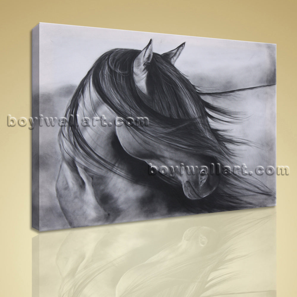 Contemporary Abstract Wall Art Black And White Horse Painting HD Print Picture