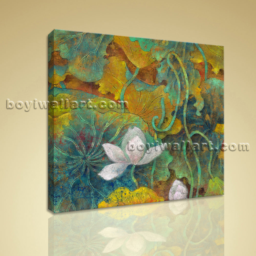 Contemporary Abstract Floral Painting HD Print Canvas Wall Art Water Lily Flower