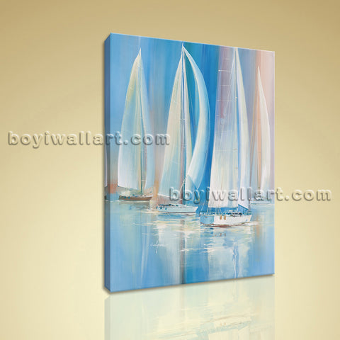 Impressionist Painting Seascape HD Print Canvas Wall Art Sailing Boat Abstract