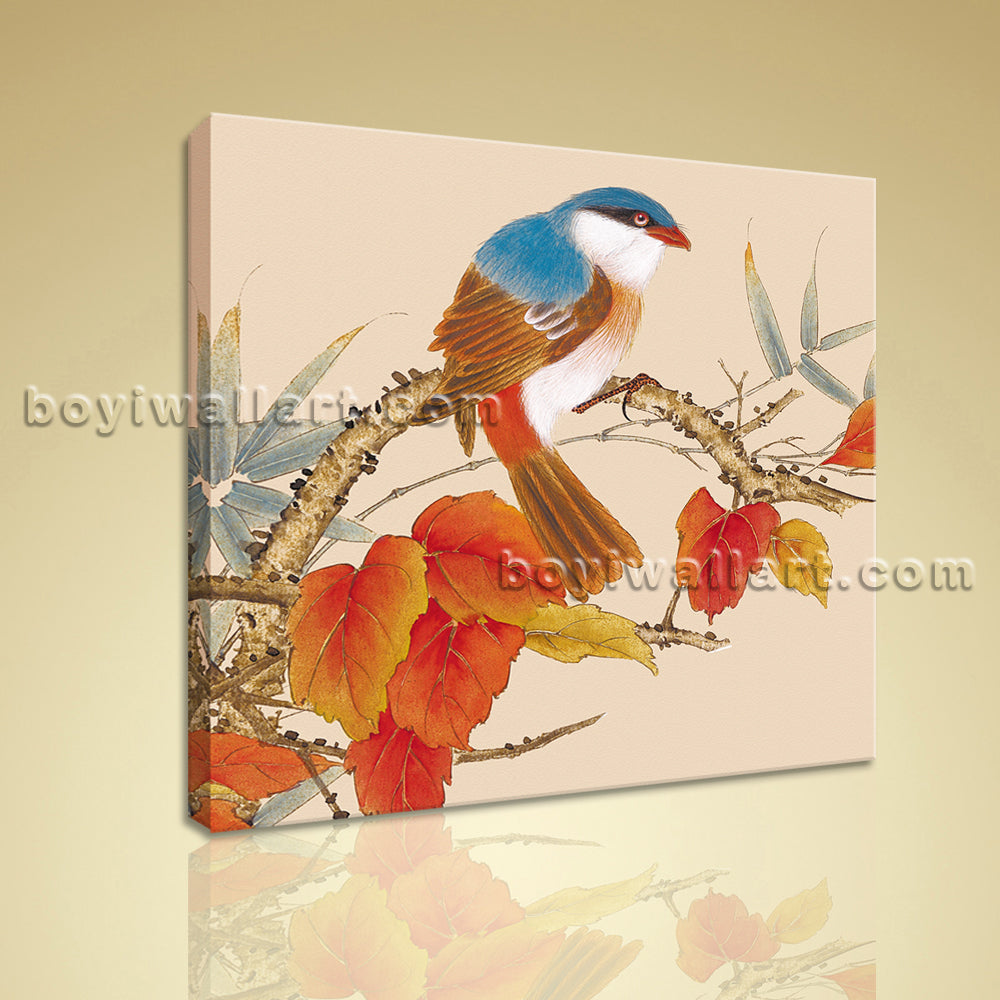 Classical Abstract Floral Bird Painting HD Print Stretched Canvas Ready To Hang