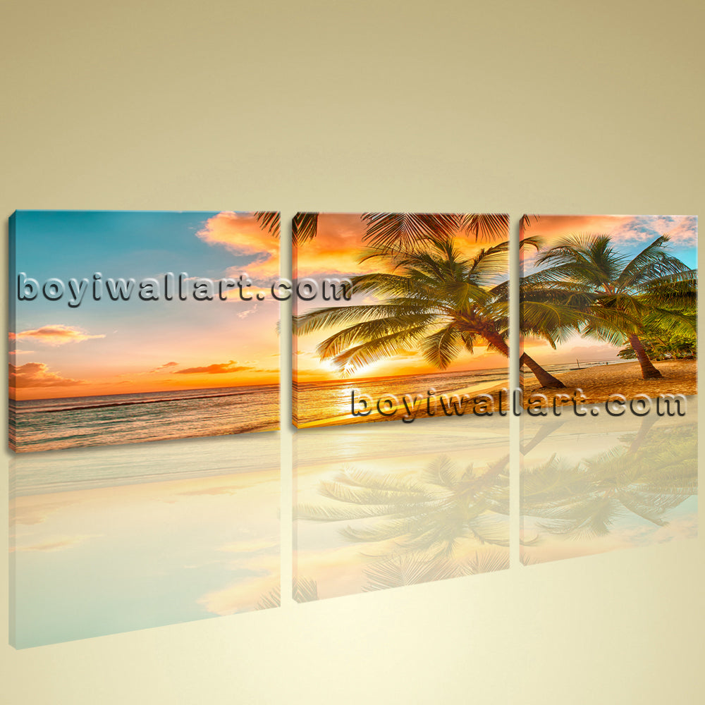 Large Contemporary HD Canvas Wall Art Print Sunset Seascape Palm Tree Beach