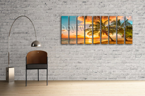 Huge HD Canvas print 7 Pieces Framed Beach Wall Art Palm Tree Sunset Seascape