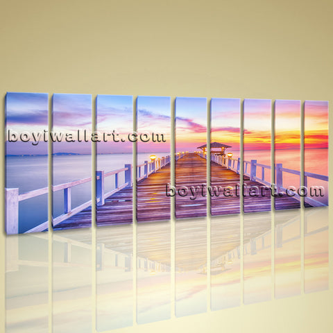 Large Canvas Wall Art Giclee Print Beach Landscape Sunset Glow Bridge Framed