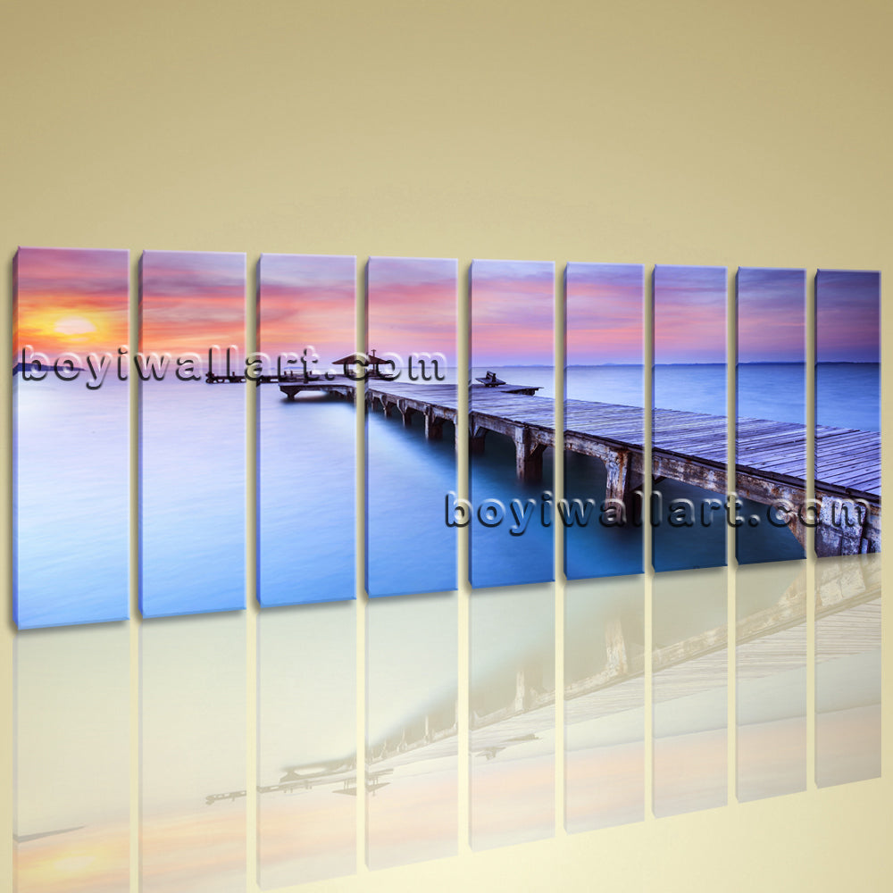 Huge Giclee Print On Stretched Canvas Beach Seascape Bridge Sunset Glow BoYi