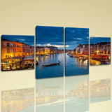 Large Cityscape Print Venice Picture Home Decor Dining Room 4 Panels Art