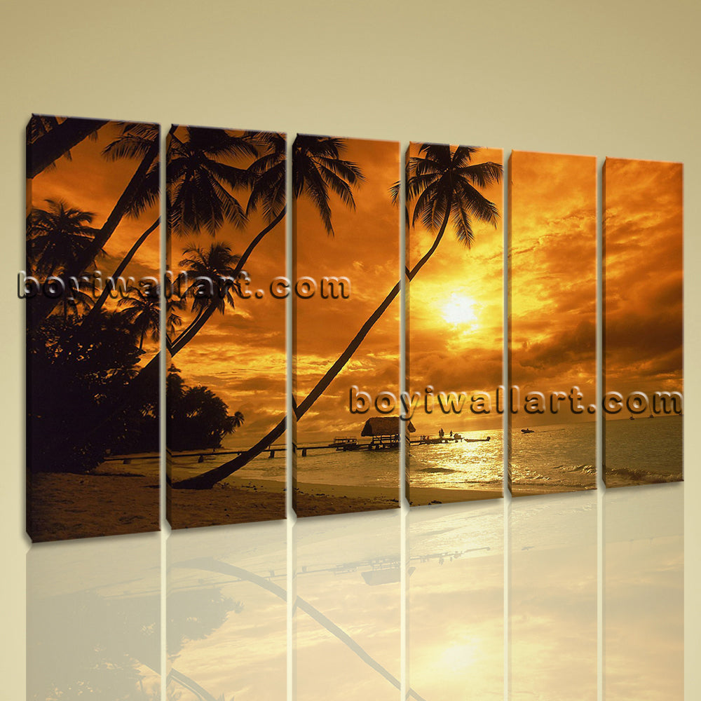 Large Canvas Print Beautiful Sunset Glow Landscape Palm Tree Beach Stretched