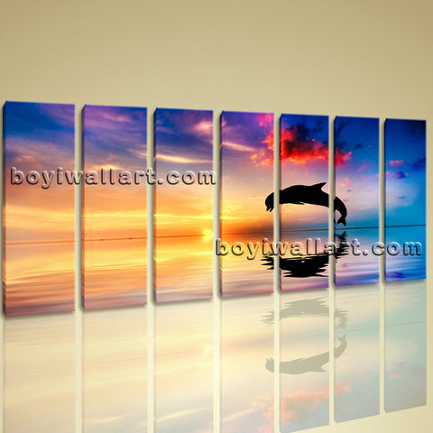 Huge Canvas Print HD Dolphin 5 Pieces Framed Wall Art Gallery Wrapped Seascape