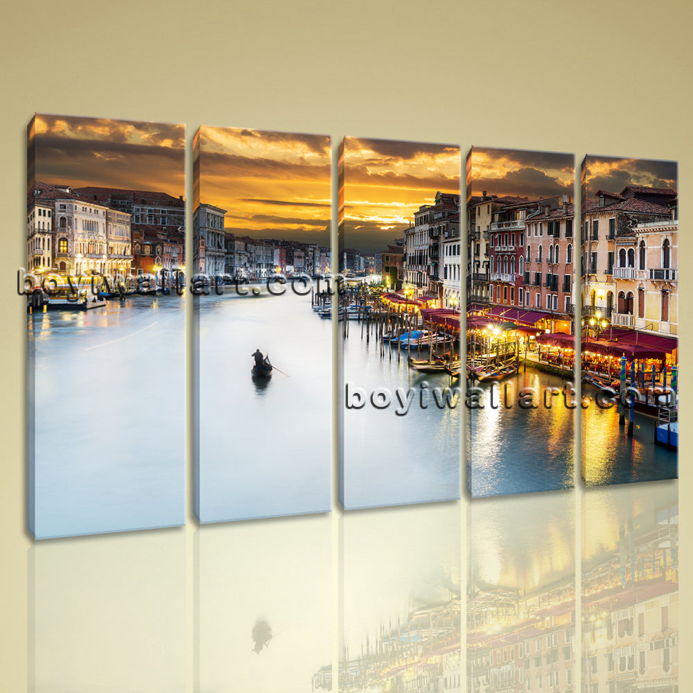 Large Canvas Prints Stretched Wall Art Venice Night Scene 4 Panels Ready To Hang
