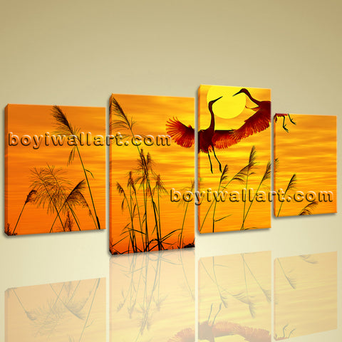 Stunning Sunset Glow Wall Art Picture Prints On Canvas Crane Dancing Framed