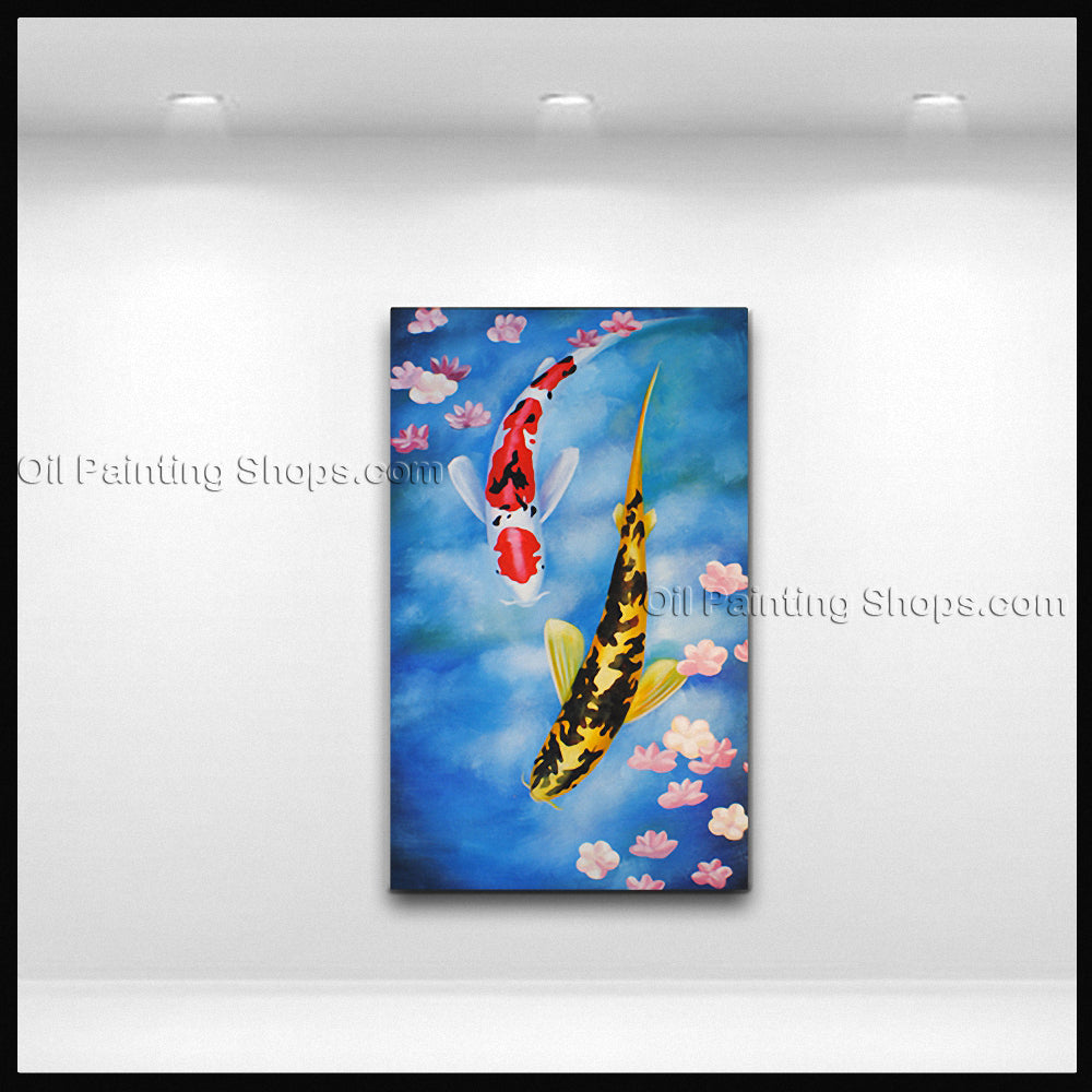 Elegant Feng Shui Zen Art Contemporary Painting Koi Fish Oil On Canvas