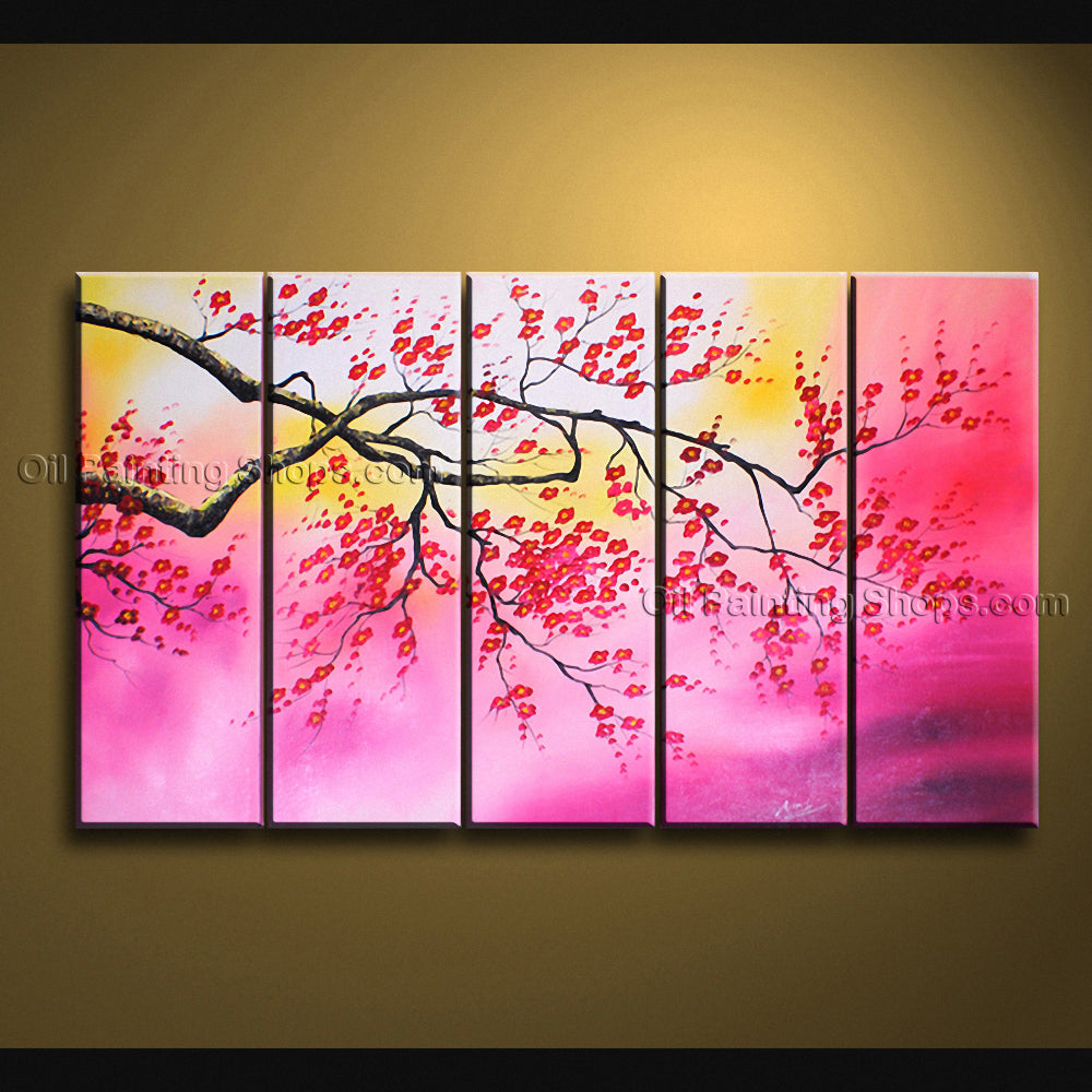 Large Contemporary Wall Art Floral Painting Cherry Blossom Scenery