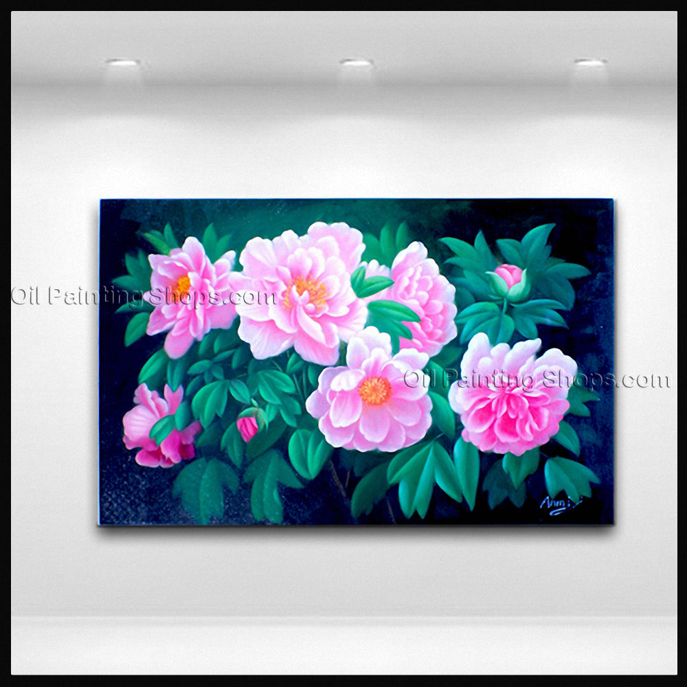 Stunning Contemporary Wall Art Floral Painting Peony Flower On Canvas