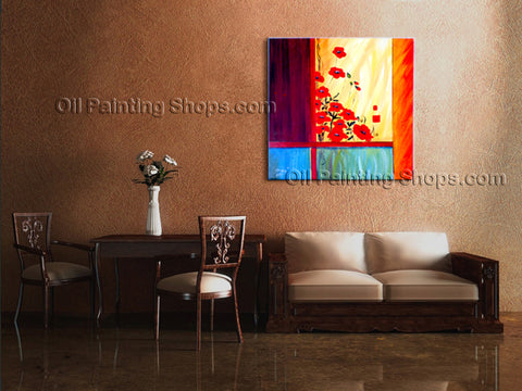 Astonishing Contemporary Wall Art Floral Painting Poppy Flower On Canvas
