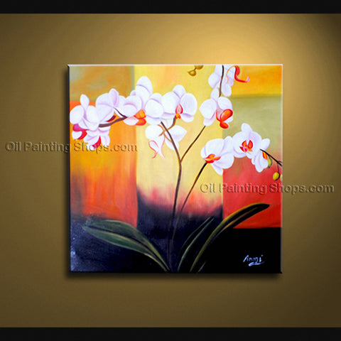 Stunning Contemporary Wall Art Floral Painting Orchid Flowers Artwork
