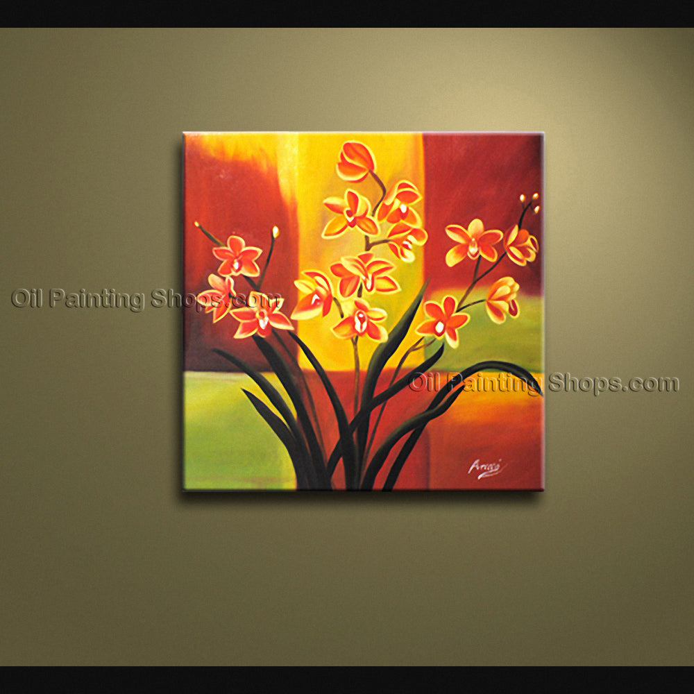Astonishing Contemporary Wall Art Floral Painting Orchid Flower On Canvas