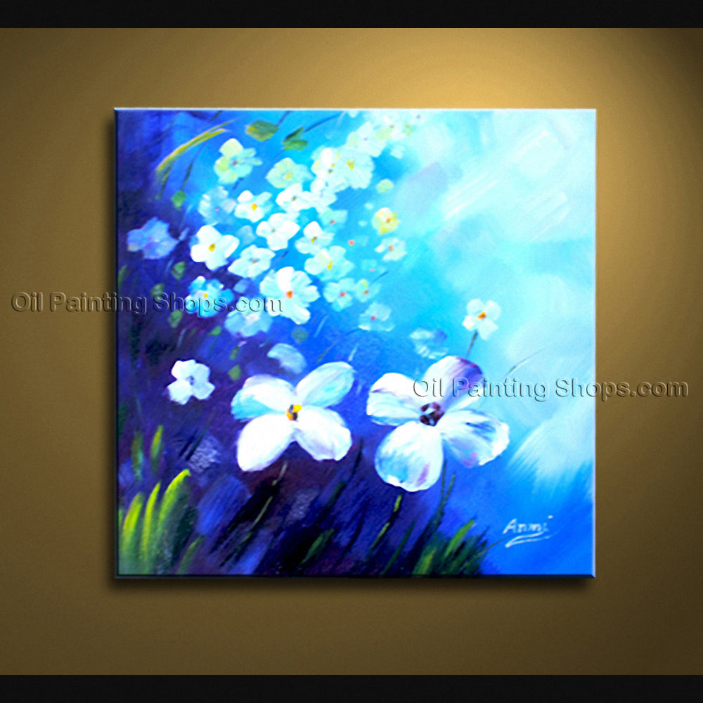 Beautiful Contemporary Wall Art Floral Painting White Flower