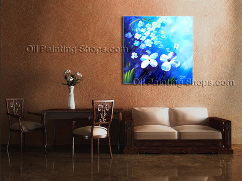 Beautiful Contemporary Wall Art Floral Painting White Flower Paintings