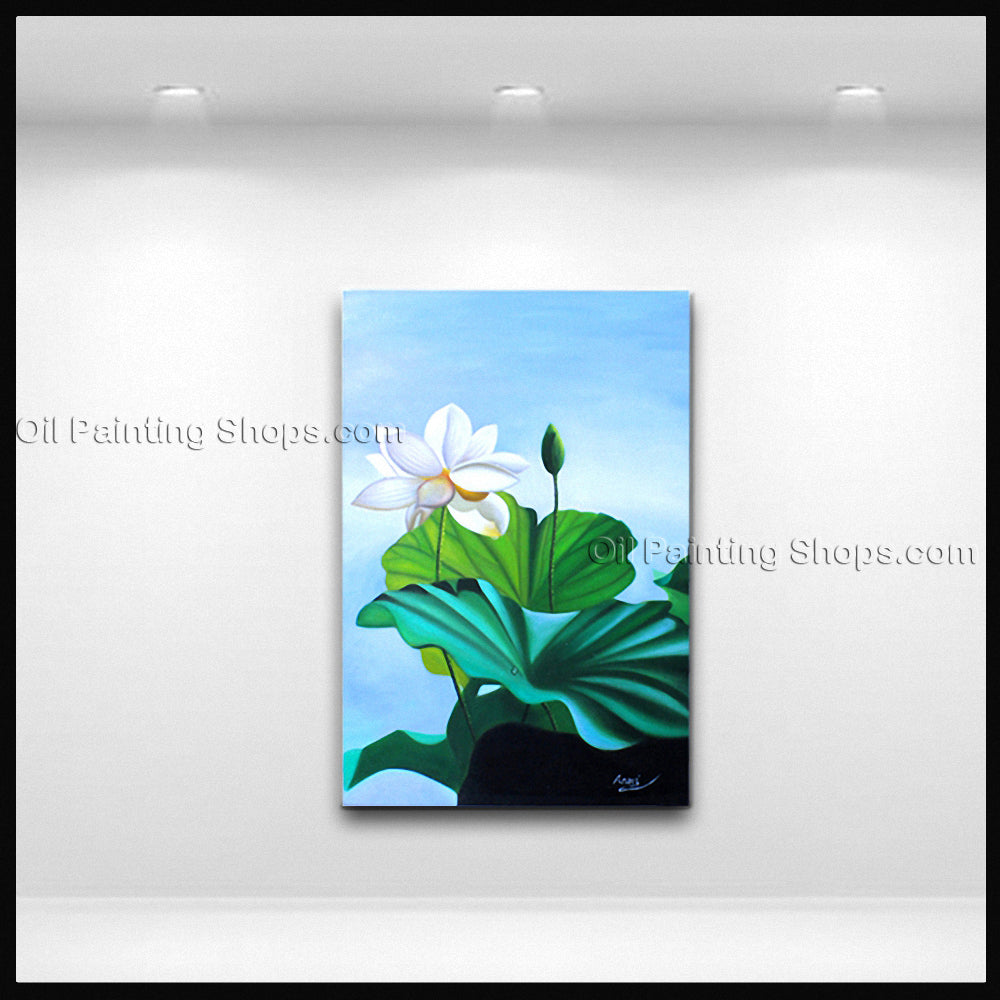 Elegant Contemporary Wall Art Floral Painting Lotus Lily Flower