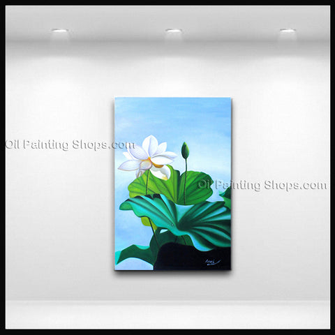Elegant Contemporary Wall Art Floral Painting Lotus Lily Flower Paintings