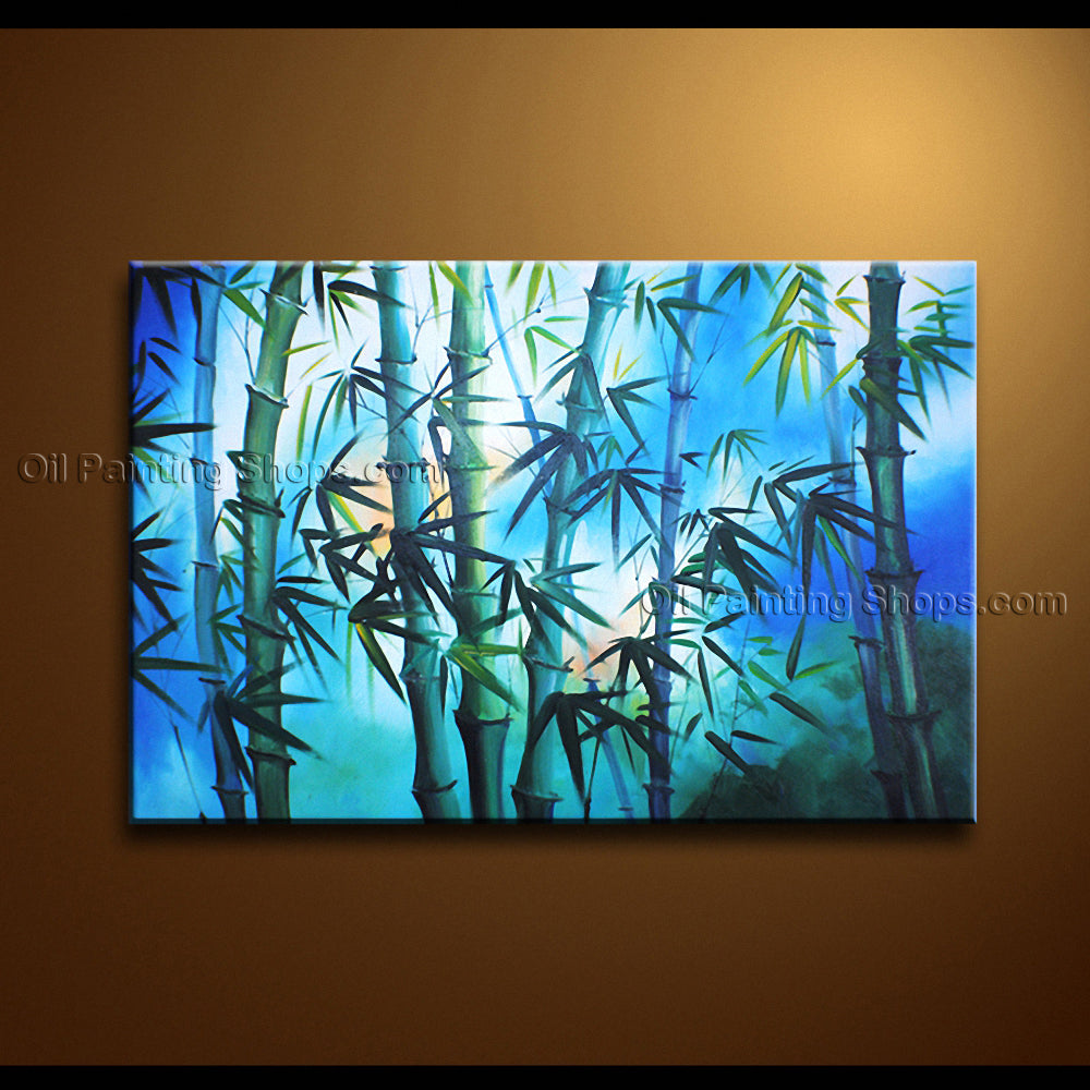 Handmade Astonishing Contemporary Wall Art Floral Painting Bamboo Pictures