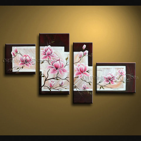 Tetraptych Contemporary Wall Art Floral Painting Tulip Flower Oil Canvas