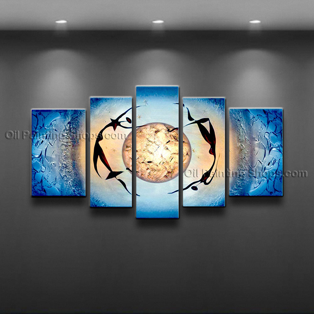 Handmade Large Modern Abstract Painting Wall Art Figure Inner Stretched