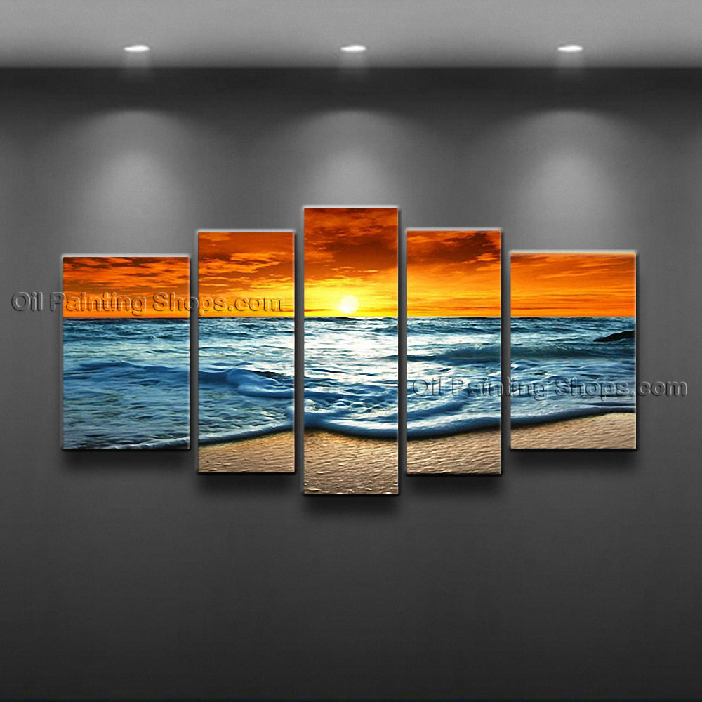 Large Contemporary Wall Art Seascape Painting Sunset Scenery Pictures