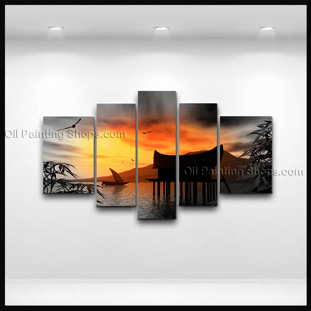 Large Contemporary Wall Art Seascape Painting Moon Scene Canvas Art