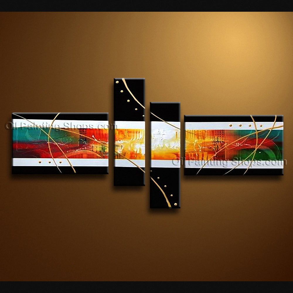 Hand Painted Tetraptych Modern Abstract Painting Wall Art Artwork Pictures