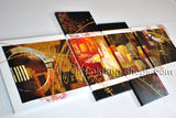 Hand Painted 4 Pieces Modern Abstract Painting Wall Art Inner Stretched