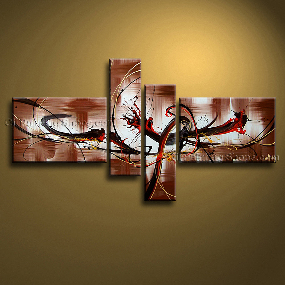 Hand-painted 4 Pieces Modern Abstract Painting Wall Art Artwork Images