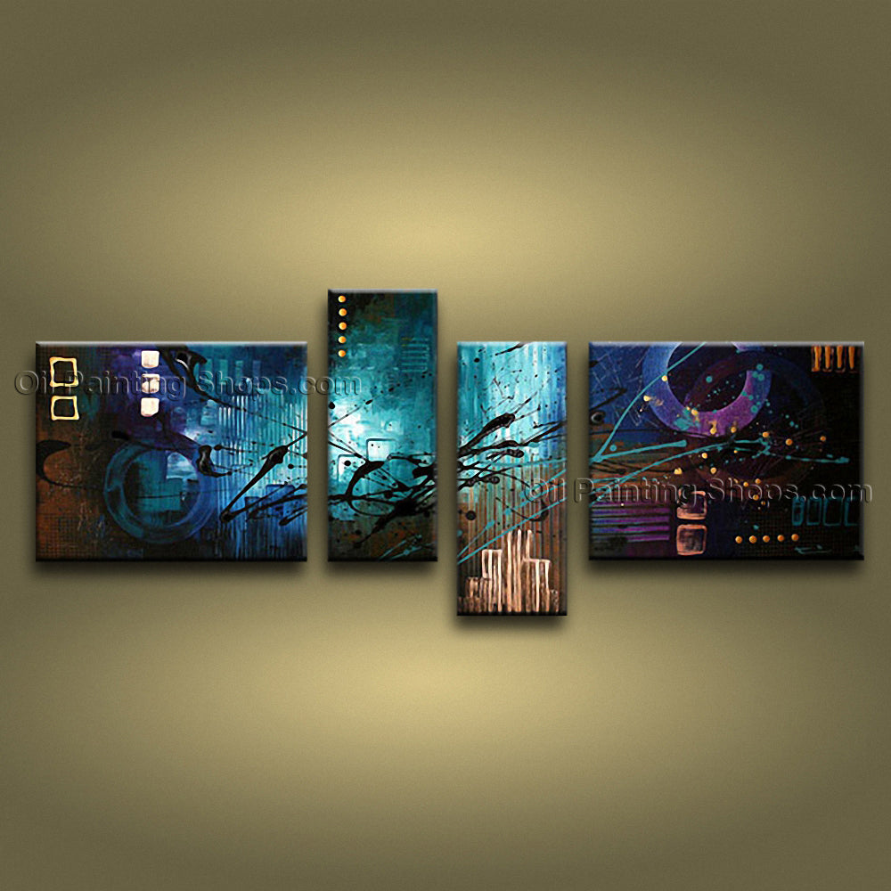 Hand Painted Tetraptych Modern Abstract Painting Wall Art Artwork Images