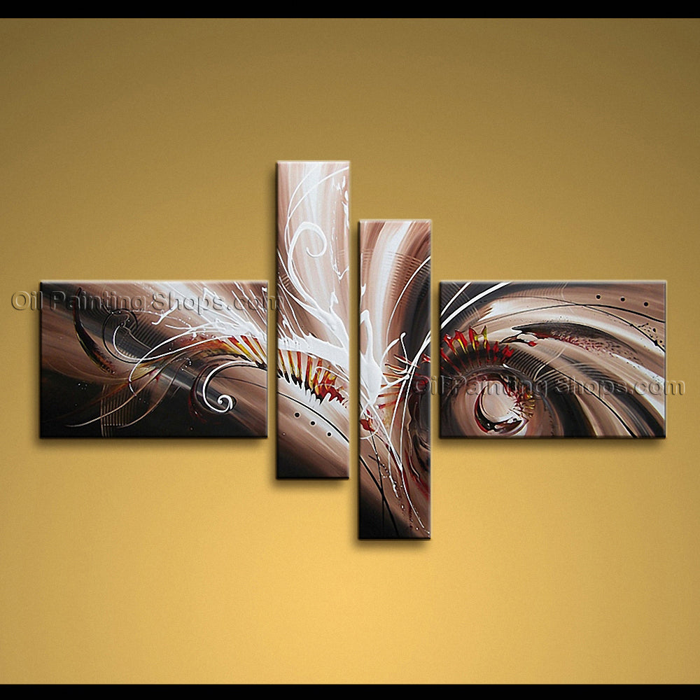 Hand-painted Tetraptych Modern Abstract Painting Wall Art Artwork Pictures