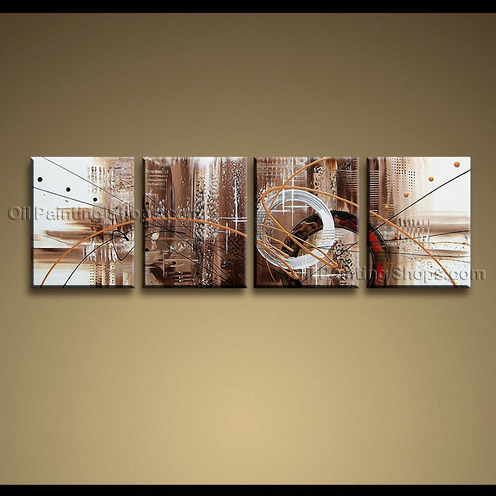 Hand Painted Tetraptych Modern Abstract Painting Wall Art Decoration Ideas