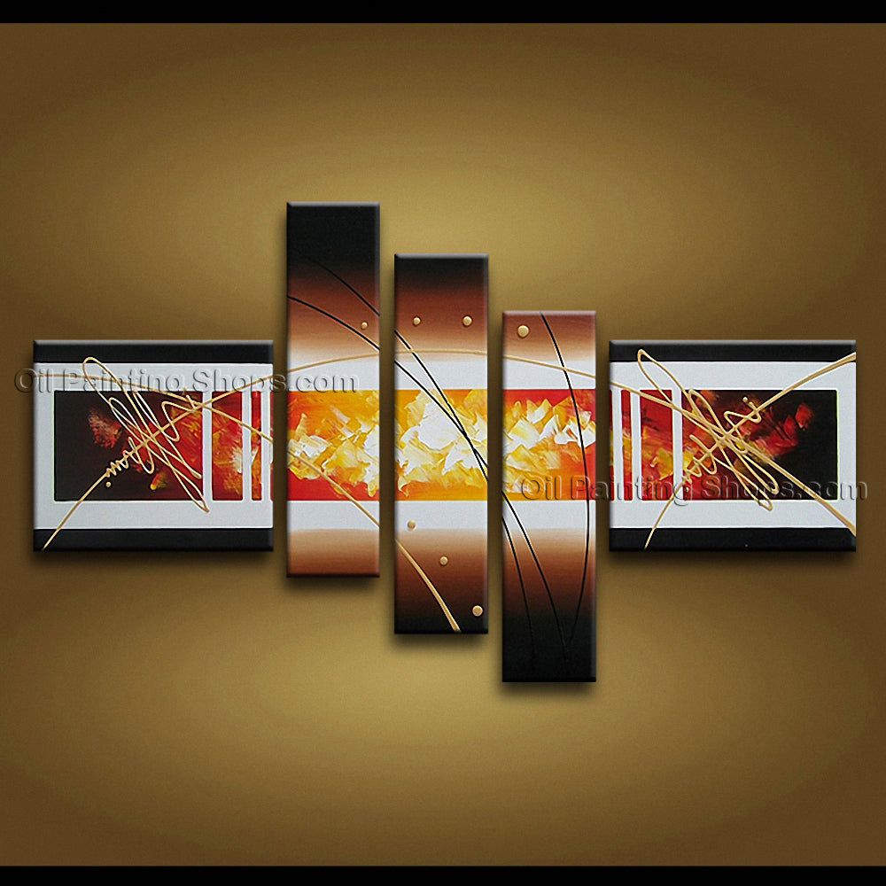 Hand Painted Pentaptych Modern Abstract Painting Wall Art Interior Design