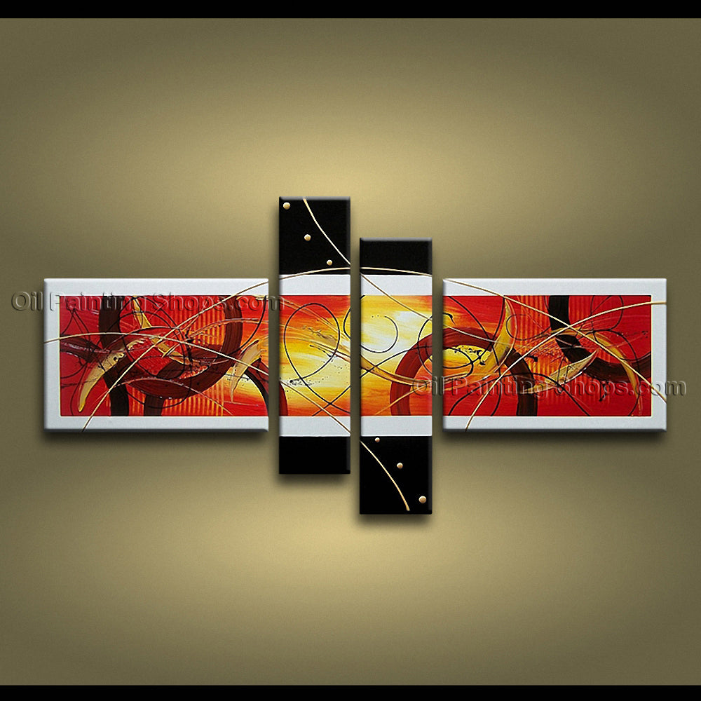 Hand-painted Tetraptych Modern Abstract Painting Wall Art Artist Artworks
