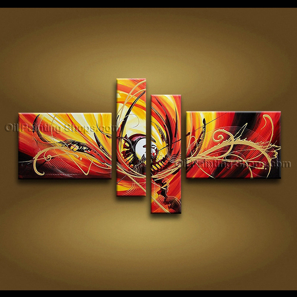 Hand Painted 4 Pieces Modern Abstract Painting Wall Art Gallery Wrapped