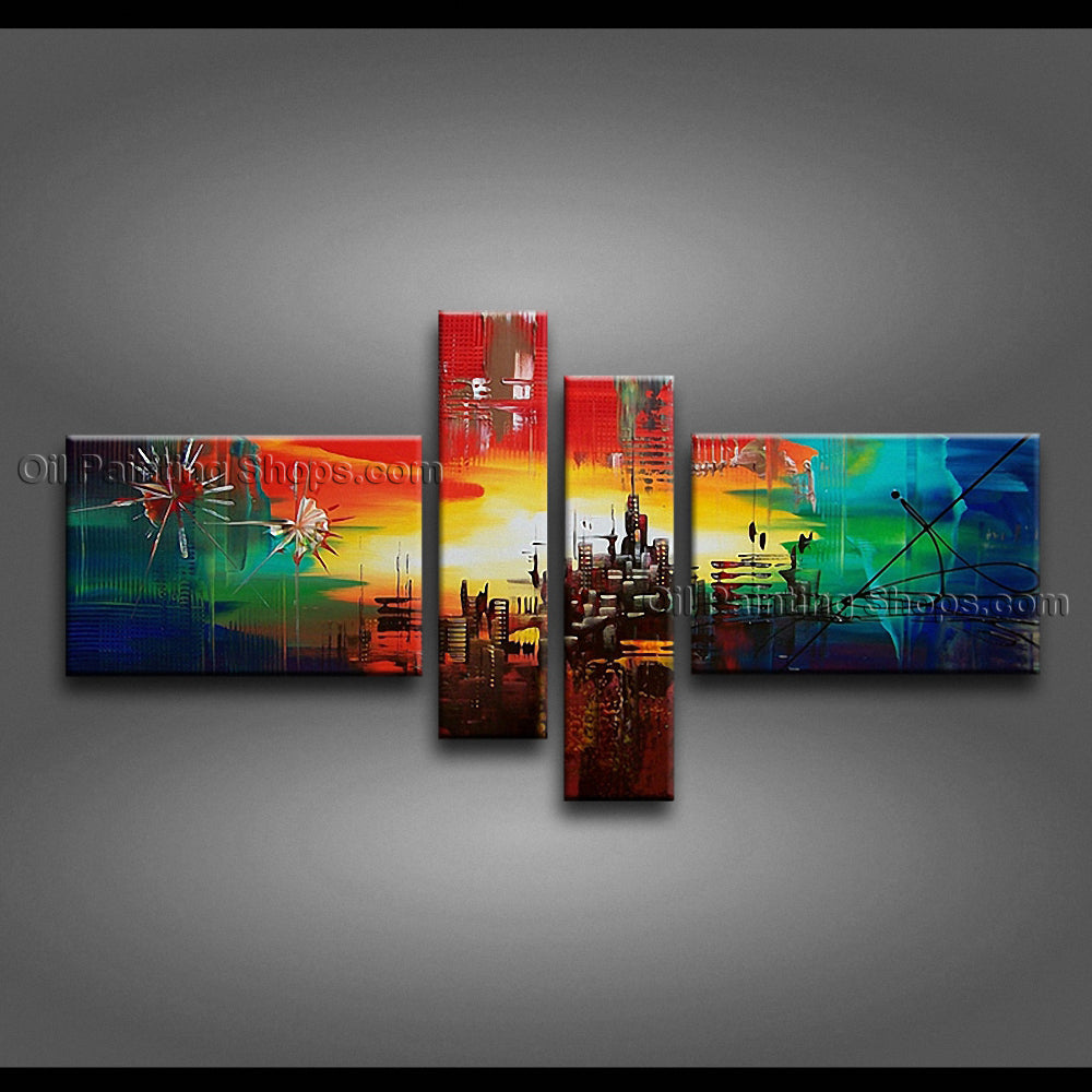 Handmade Artcrafts Large Modern Abstract Painting Wall Art Inner Stretched