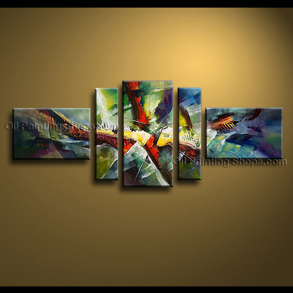 Hand-painted Pentaptych Modern Abstract Painting Wall Art Gallery Wrapped