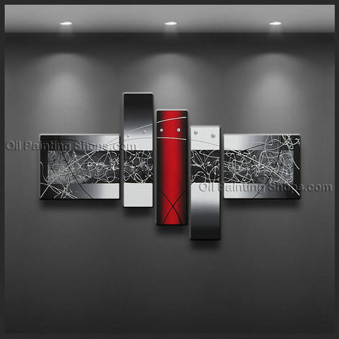 Hand-painted 5 Pieces Modern Abstract Painting Wall Art On Canvas Artworks