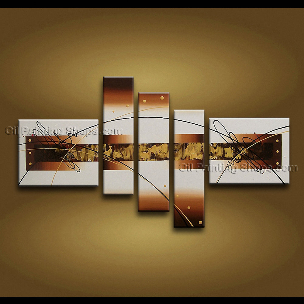 Hand-painted Pentaptych Modern Abstract Painting Wall Art Artwork Images