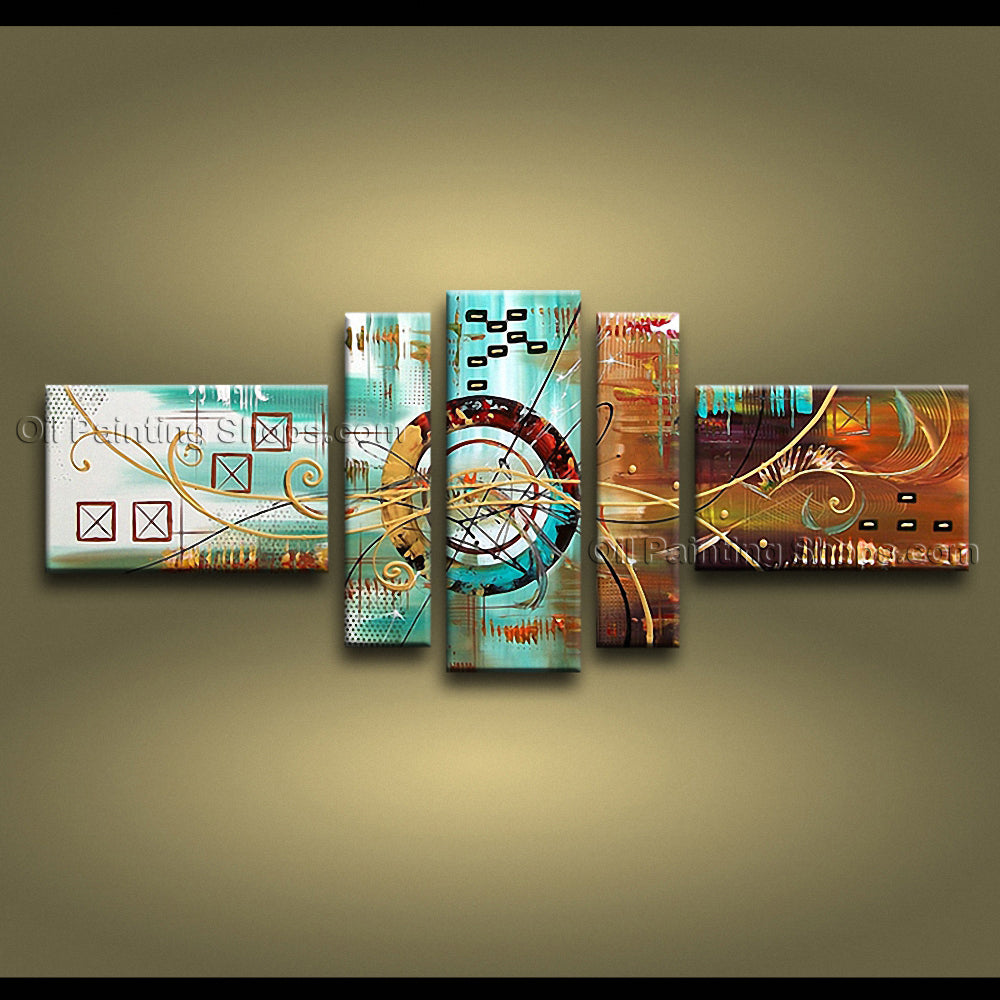 Hand-painted 5 Pieces Modern Abstract Painting Wall Art Inner Stretched