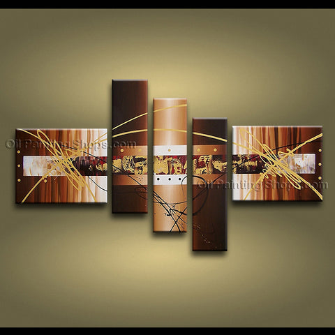 Hand-painted Pentaptych Modern Abstract Painting Wall Art Oil On Canvas