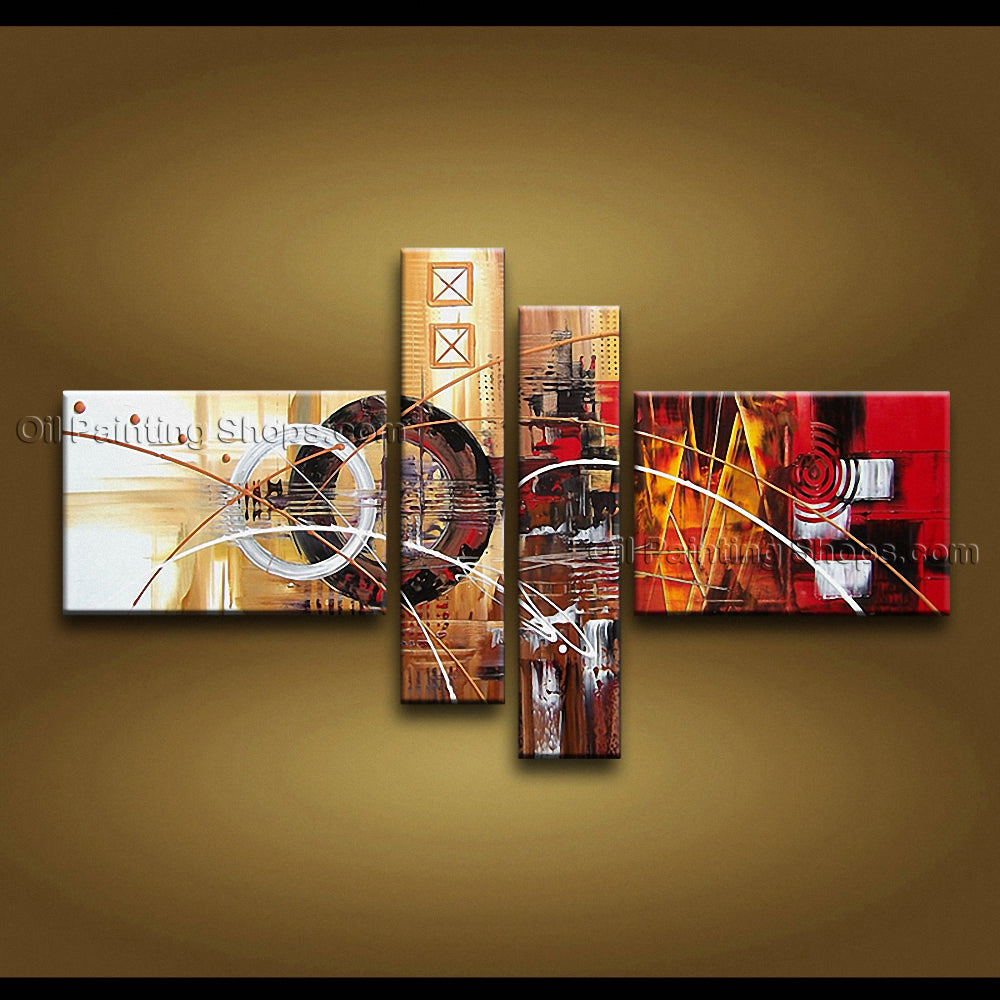 Hand Painted 4 Pieces Modern Abstract Painting Wall Art Artist Artworks