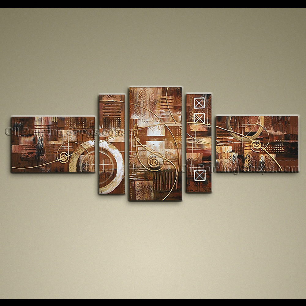 Hand Painted 5 Pieces Modern Abstract Painting Wall Art On Canvas Artworks